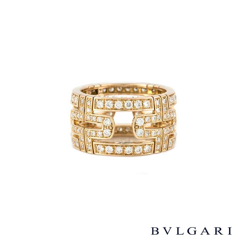 Bvlgari 18k Rose Gold Diamond Set Parentesi Ring